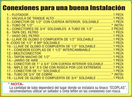 Listado de conexiones para instalación de Tinacos Ecoplas